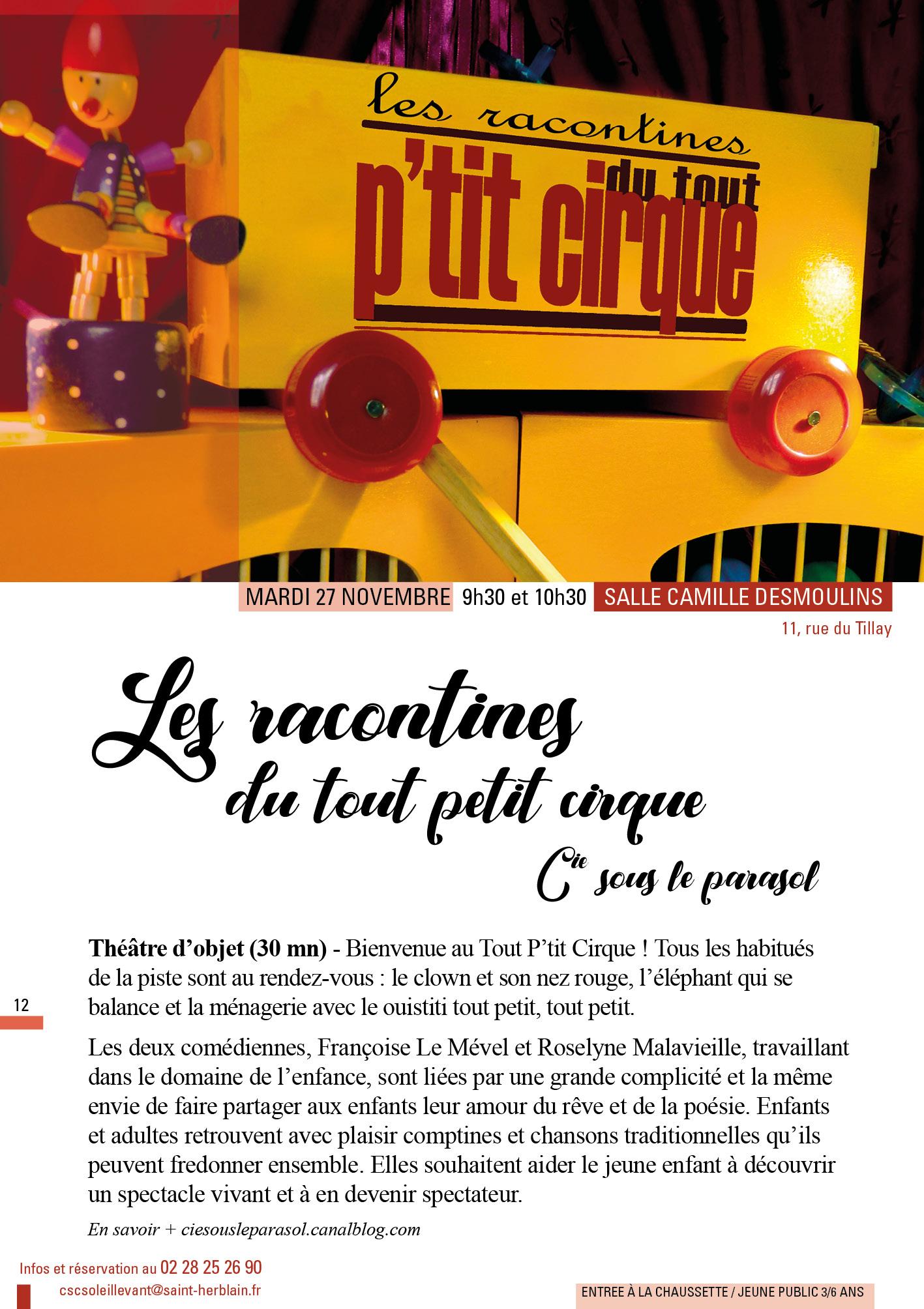 Hivernales : Les racontines du tout petit cirque @ Salle Camille Desmoulins | Saint-Herblain | Pays de la Loire | France